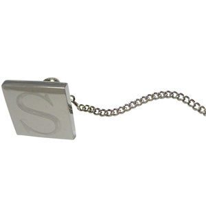 Letter S Etched Monogram Pendant Tie Tack